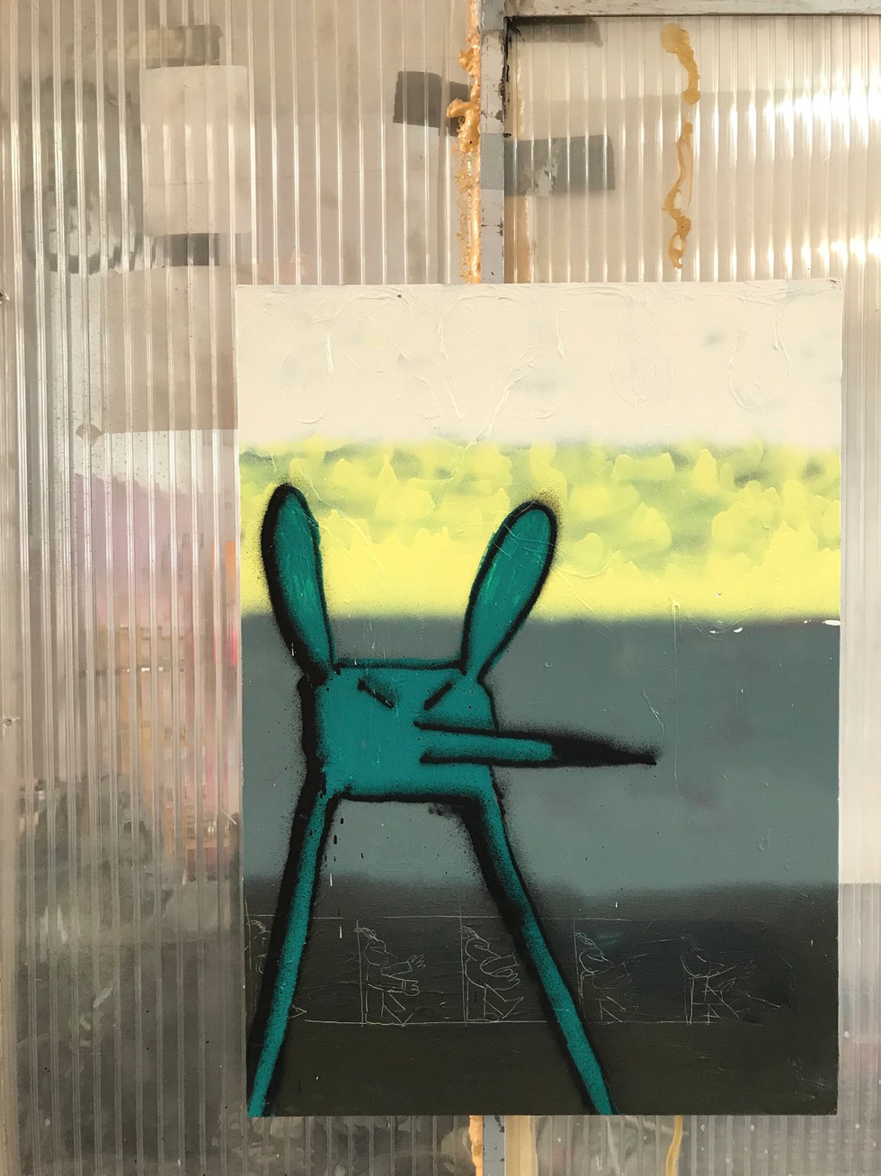 O.T. / 2019 /70x50cm / Acryl, Lack auf Leinwand  ---  Grand Jus / Gruppenausstellung mit u.a. Markus Armbrecht, Pascal Brinkmann, Regine Schulz / Hamburg 2019