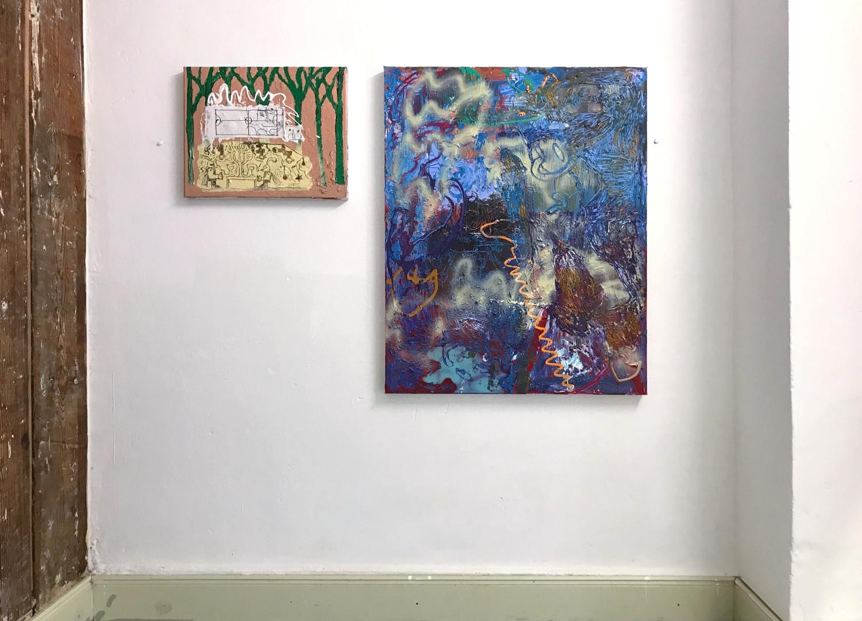 Im Duo Gegeneinander / 2019 / 30x40cm / Acryl, Lack, Collage auf Leinwand  Ghostmane / 2019 / 100x80cm / Acryl, Lack auf Leinwand  ---  YAWL / Doppelausstellung mit Regine Schulz / Gängeviertel, Hamburg 2019