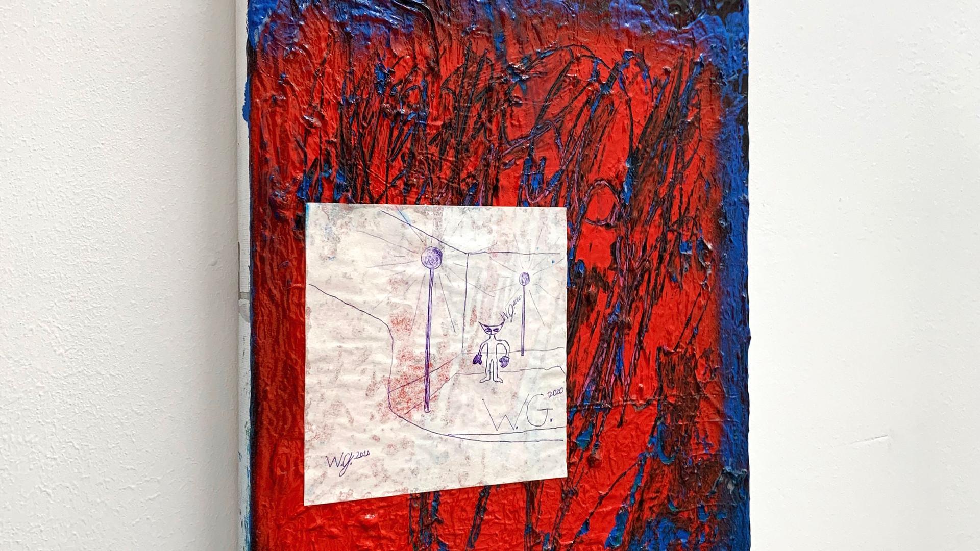 Ohne Titel / 2020 / 40x30cm / Acryl, Collage, Lack auf Leinwand   --  Wolfgang Günther / Emde Gallery / Soloshow / Mainz, 2020