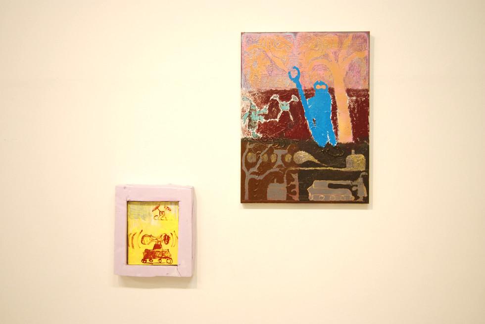 O.T. / 2019 / 30x24 (ohne Rahmen) / Acryl, Lack auf Leinwand  Kirsche pflücken! / 2019 / 80x60cm / Acryl, Lack auf Leinwand  ---  Magische Dystopie / mit Sophia Leitenmayer, Conrad Hübbe / MOM ART SPACE / Hamburg 2019 / Kuratiert von Jessica Herden, Pascal Brinkmann