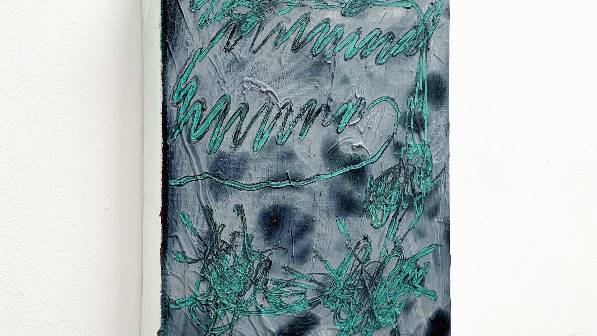 Ohne Titel / 2020 / 30x24cm / Acryl, Lack auf Leinwand   --  Wolfgang Günther / Emde Gallery / Soloshow / Mainz, 2020