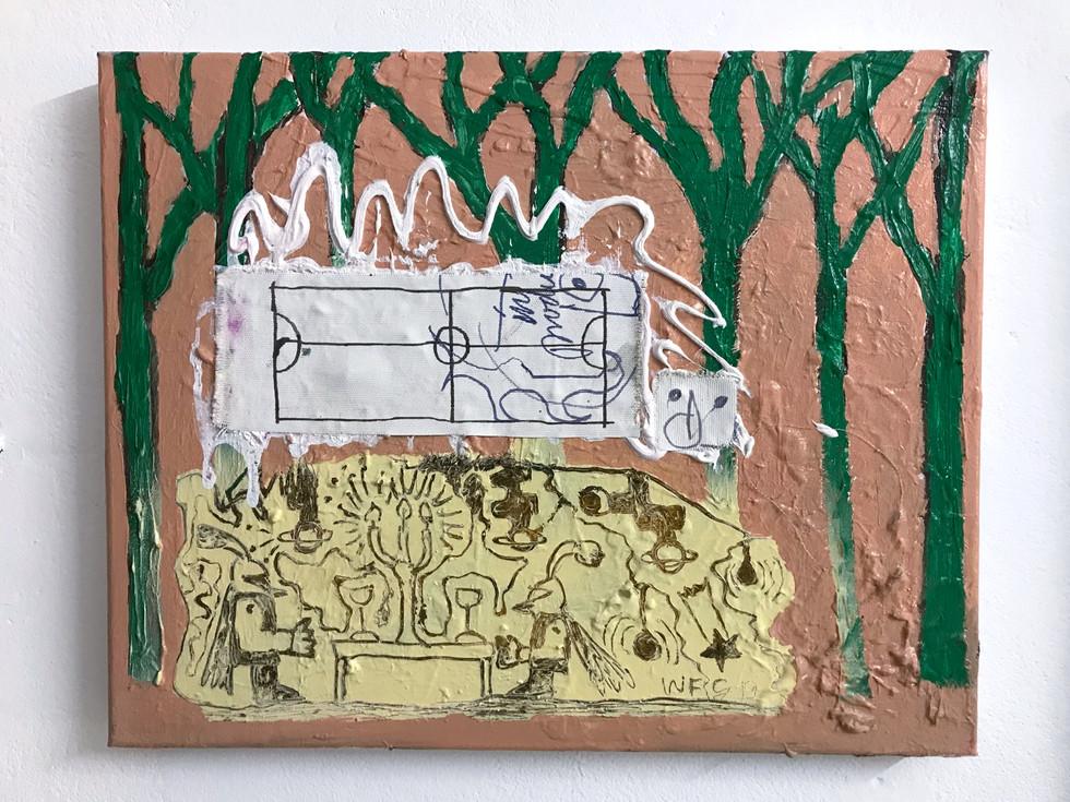 Im Duo Gegeneinander / 2019 / 30x40cm / Acryl, Lack, Collage auf Leinwand  ---  YAWL / Doppelausstellung mit Regine Schulz / Gängeviertel, Hamburg 2019