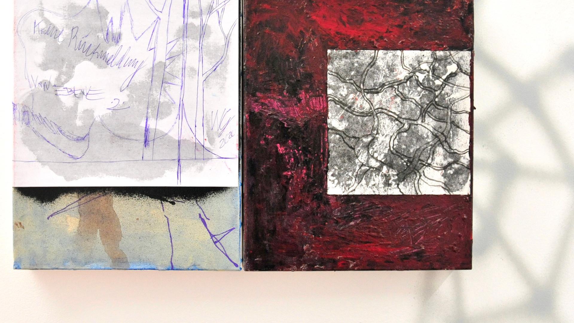 Ohne Titel / 2020 / 30x24cm / Acryl, Lack auf Leinwand   --  Ohne Titel / 2020 / 30x24cm / Acryl, Lack auf Leinwand   --  Wolfgang Günther / Emde Gallery / Soloshow / Mainz, 2020
