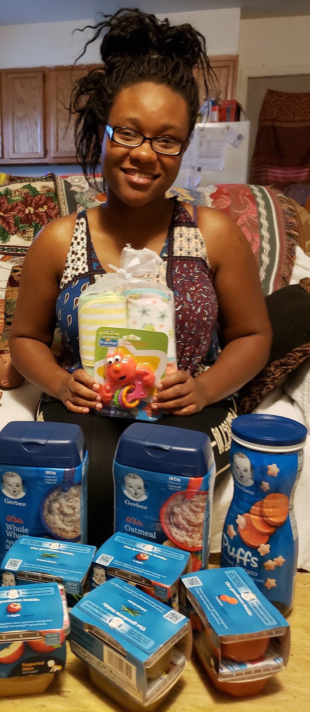 Mother of Sponsored Infant with Food Items