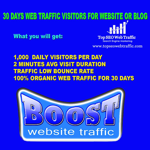 30 DAYS 1000+ DAILY KEYWORD TARGETED TRAFFIC 2 MIN+ LOW BOUNCE