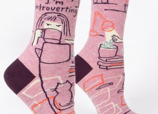 Womens Go Away I'm Introverting Crew Socks