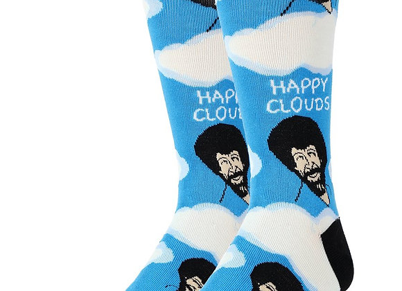 Mens Bob Ross Happy Clouds Socks