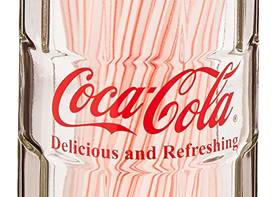 Coca-Cola Glass Straw Dispenser with Metal Lid, Small