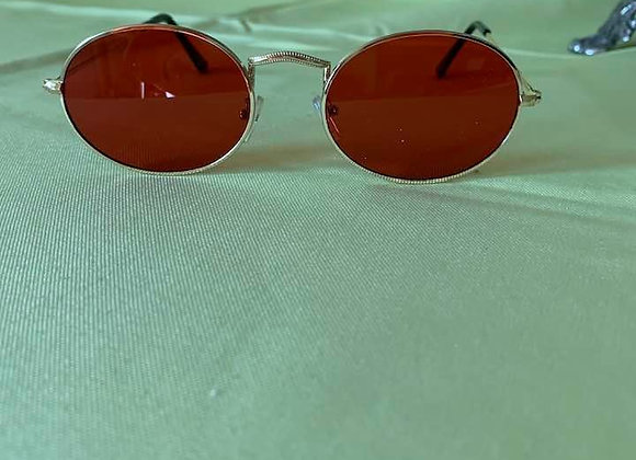 Small Gold Round Wire Rimmed Sunglasses Red Lenses