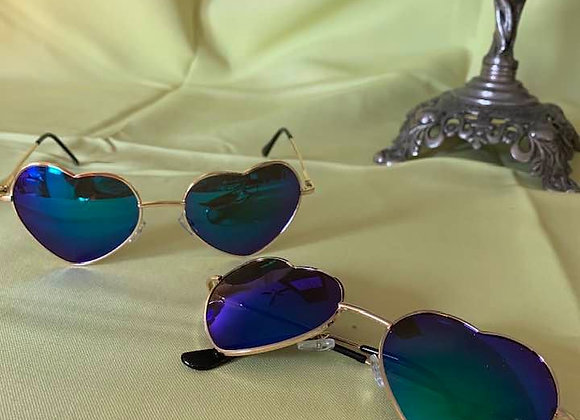 Blue Heart Wire Rimmed Sunglasses