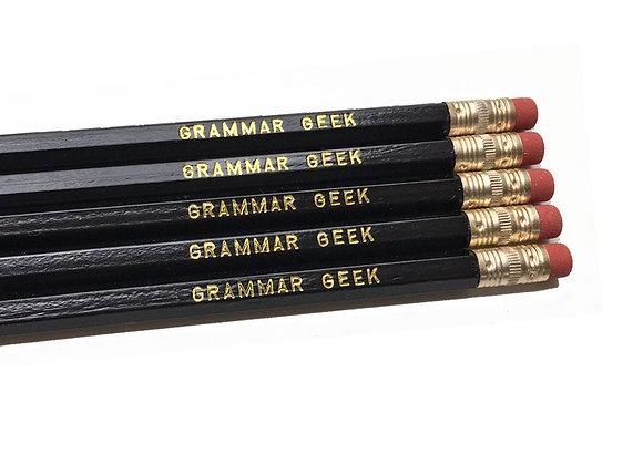 5 Grammar Geek Black Pencils