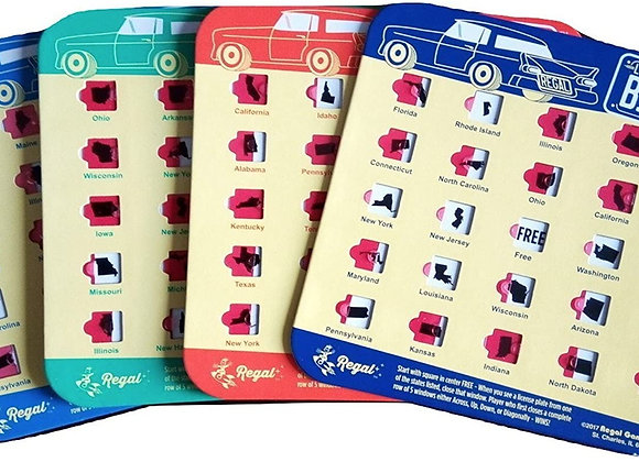 License Plate Bingo Game for Road Trips, Travel, Car Game - Set of 4 Cards