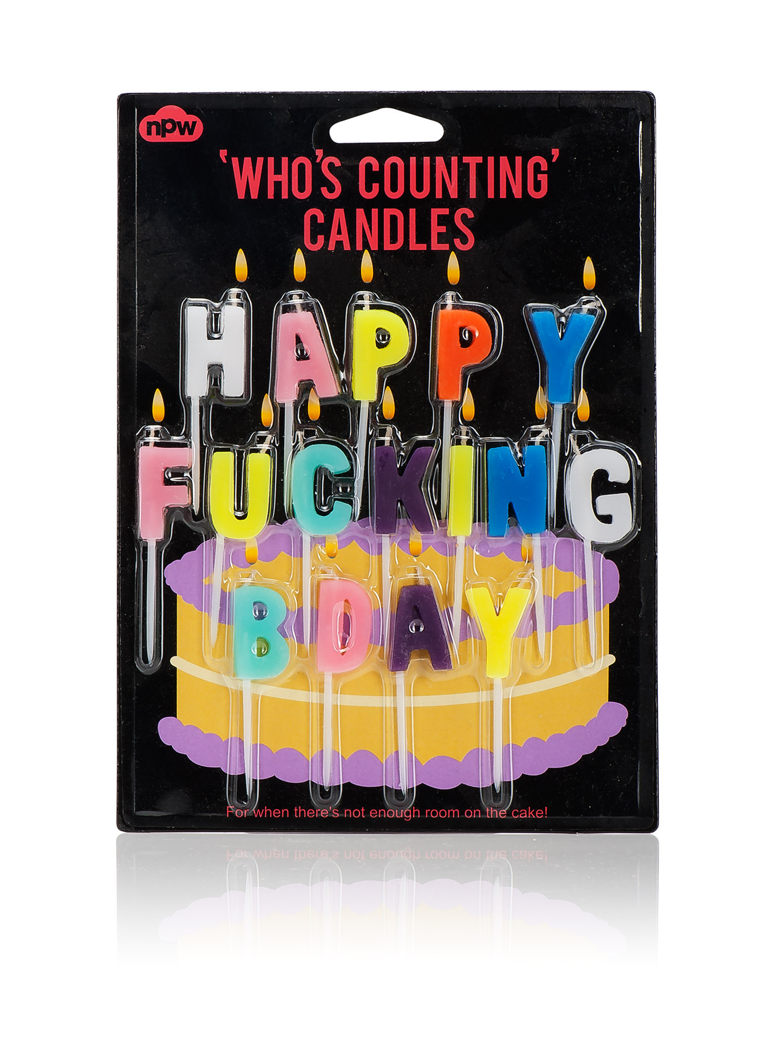 Who's counting candles humourous funny cake candles happy fucking birthday
