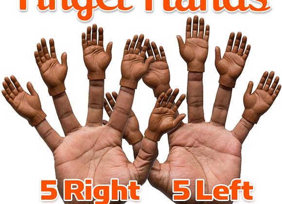 Set of 10 Dark Skin Finger Hands