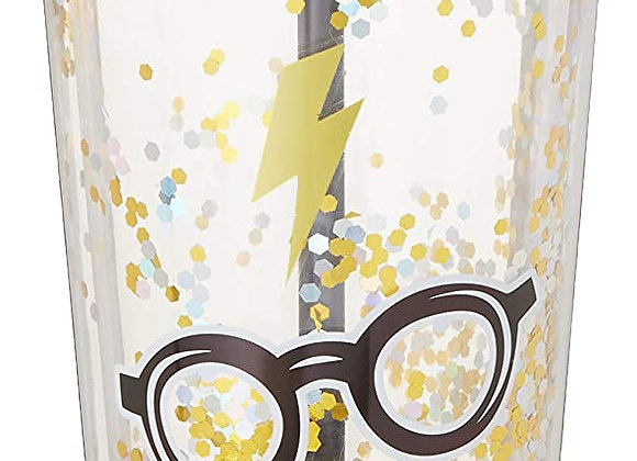 Harry Potter Glasses Glitter Cup w/Straw, 20 ounces, Gold