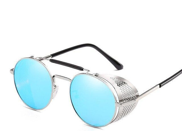 Silver Steampunk with Blue Lenses