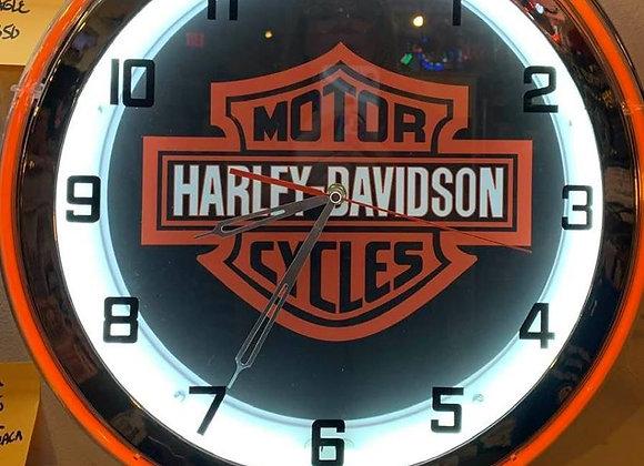 Double Neon Harley Davidson Clock