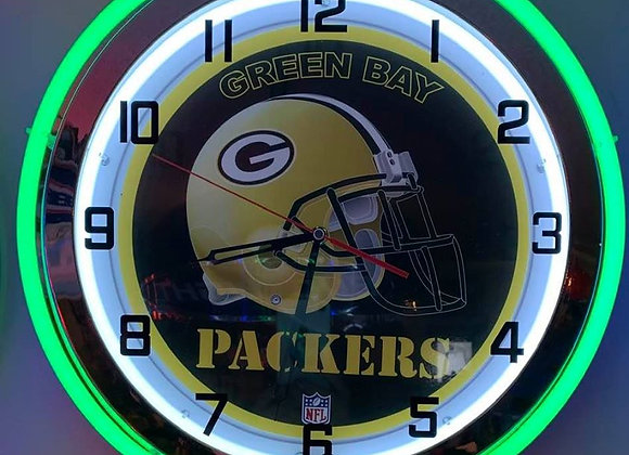 Double Neon Green Bay Packers Clock