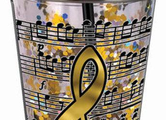 Music Glitter Cup W/straw