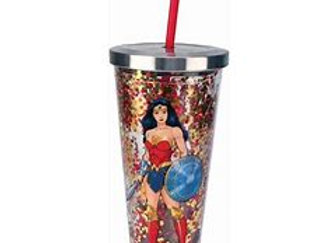 Wonder Woman Glitter Cup With Straw, 20 ounces, Multicolor