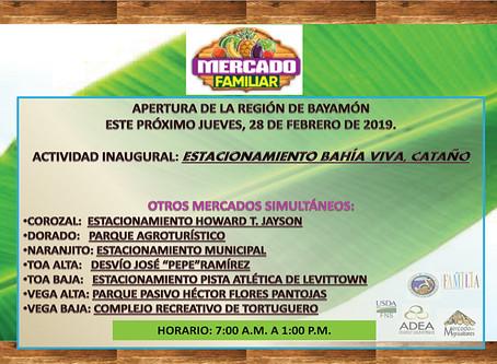 Invitación a Apertura Mercado Familiar Región Bayamón