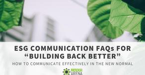 """ESG Communication FAQs for """"Building Back Better"""""""