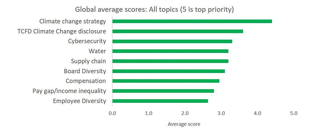 Top ESG engagement priorities for investors in 2018, Leaders Arena survey