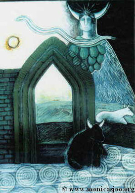 023 - Brigid As Cow Goddess Of The Tor 1993 - mixed media