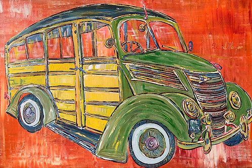 1937 Ford V8 Woody Wagon. Canvas print