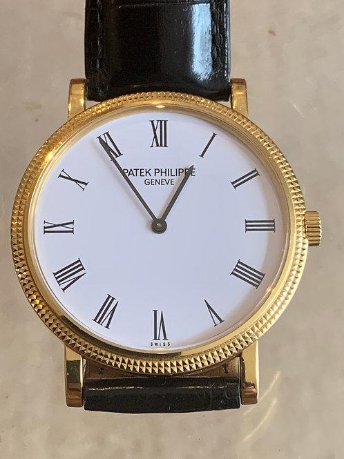 Sold. Patek Philippe 18k Gold Calatrava Exhibition Back