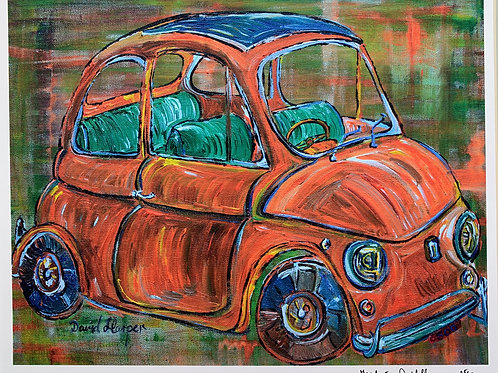 Fiat 500 Signed and framed print