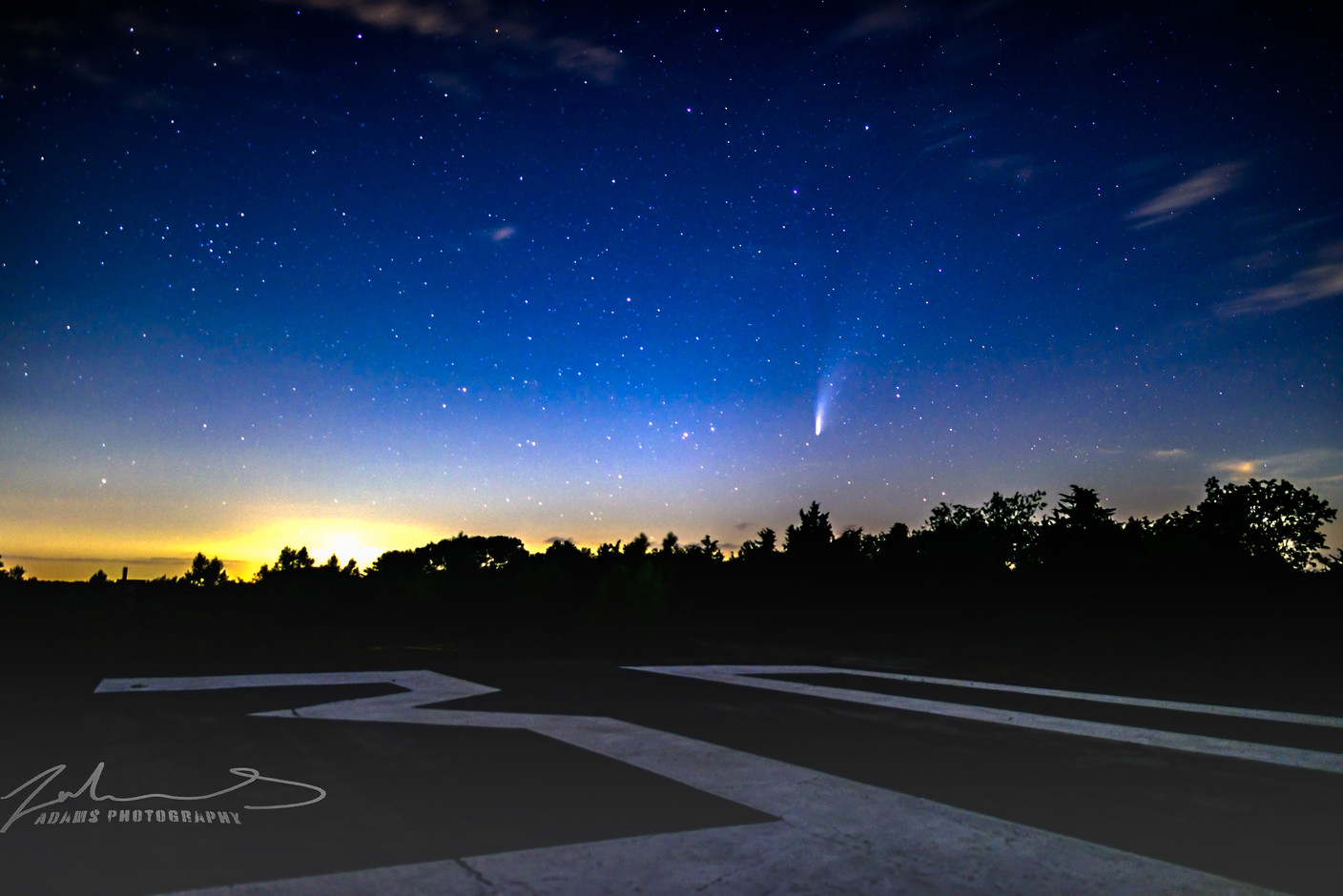 NEOWISE over the runway