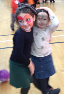 Girls with painted faces