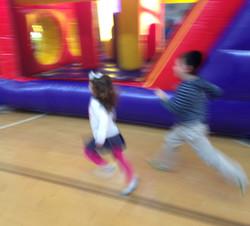Running blurred kids