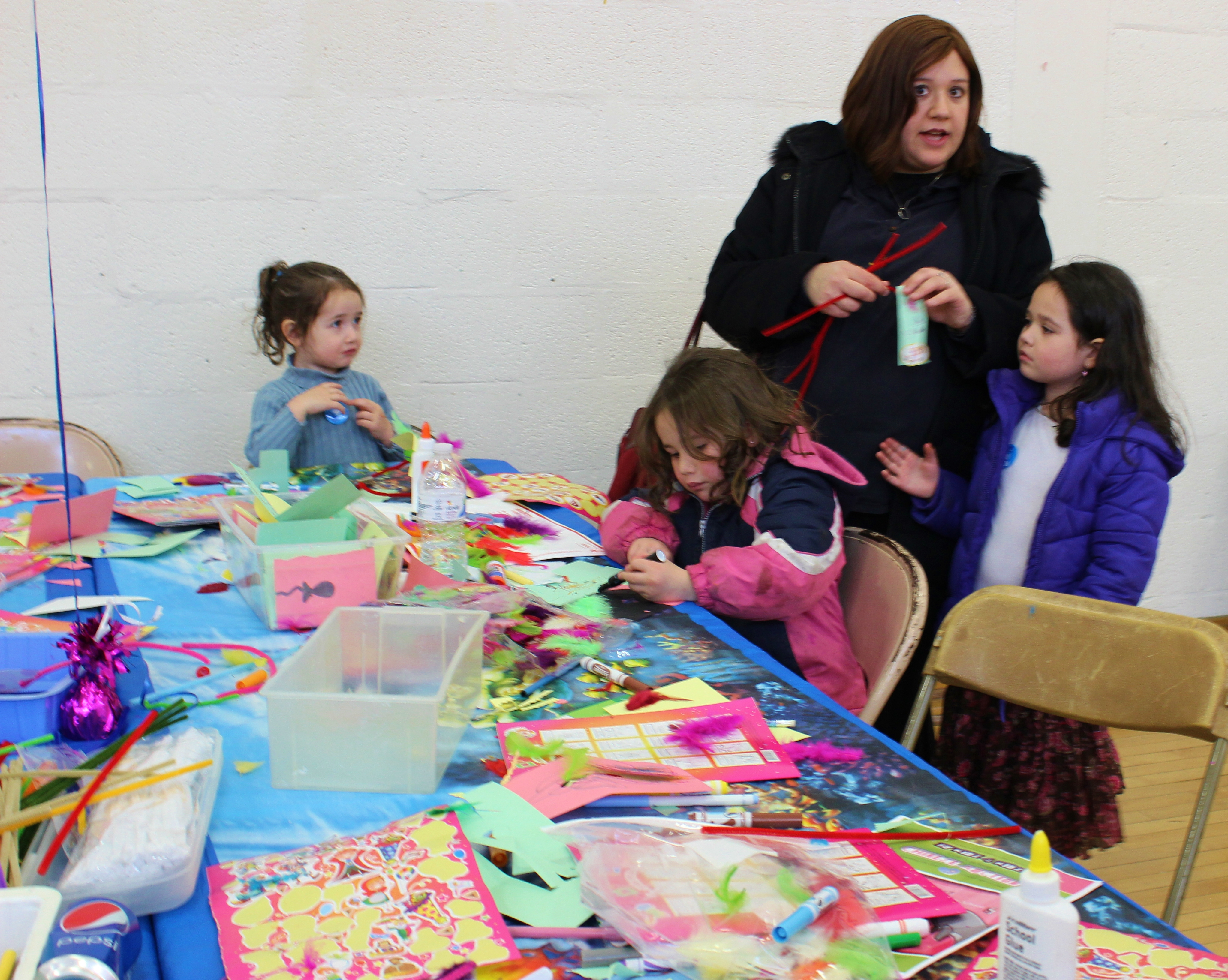 At the crafts table