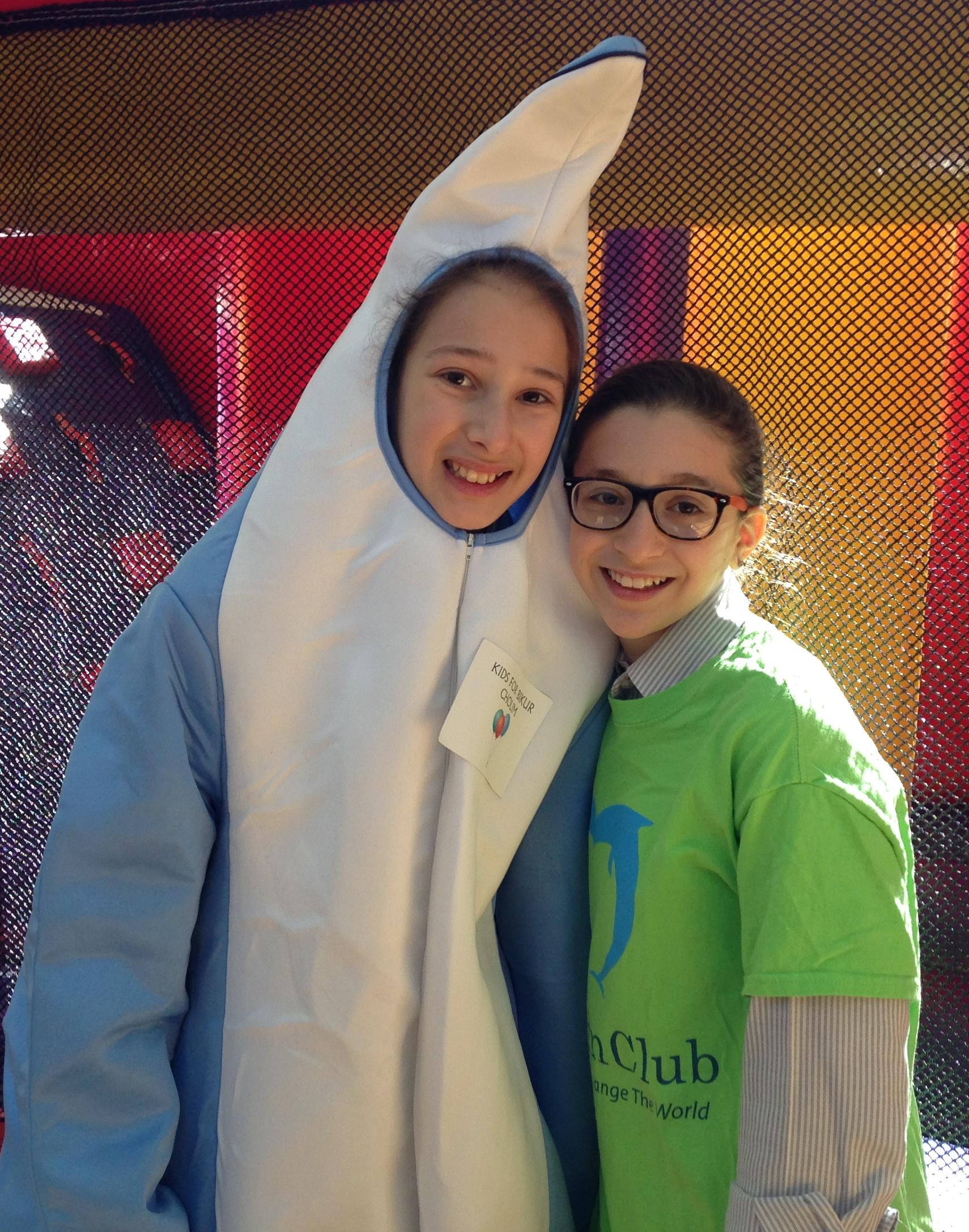 Dolphin Club mascot & friend