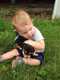 Jase with beagle pup