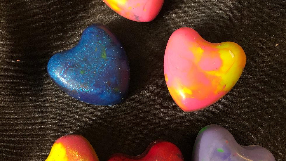 3pk custom heart crayons