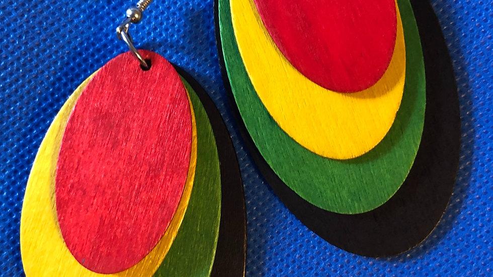 Oval culture earrings - wooden