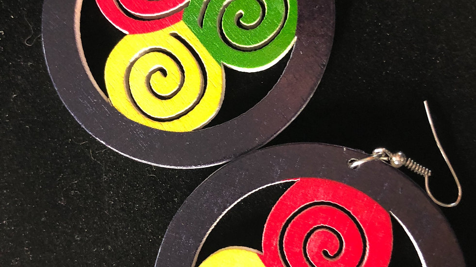 Spiral culture wooden earrings
