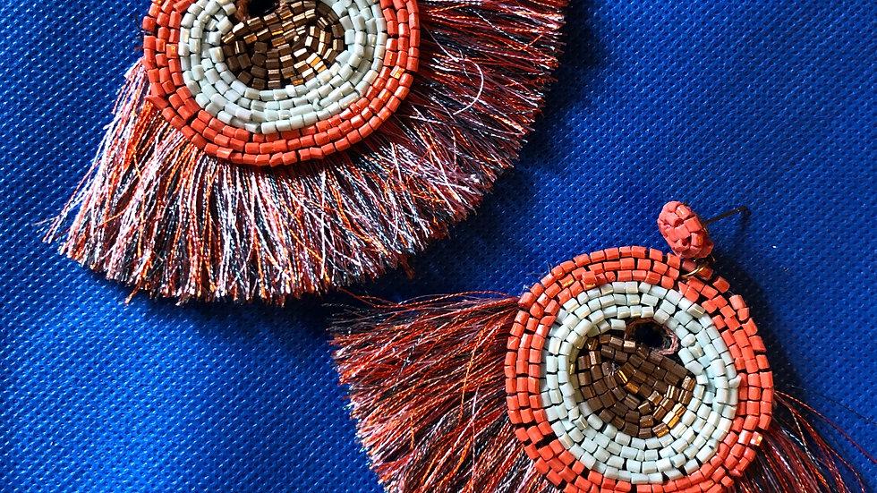 Bead & Multicolored fringe earrings