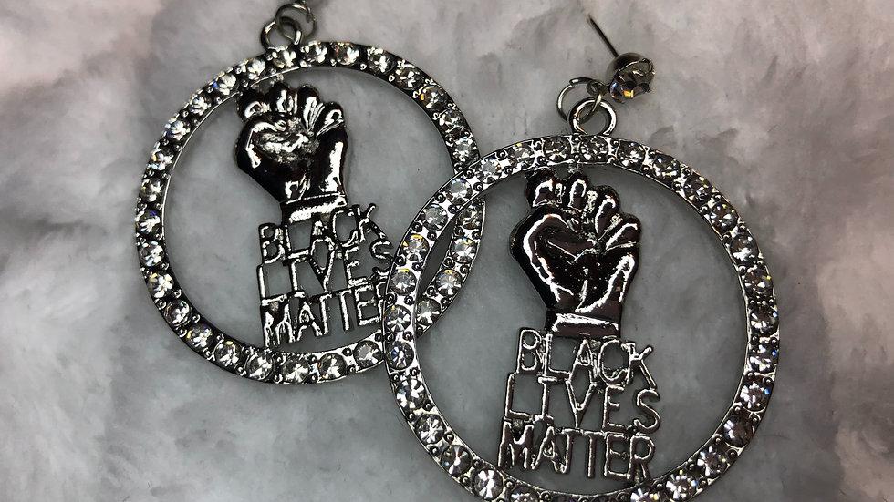 Rhinestone Black Lives Matter Earrings