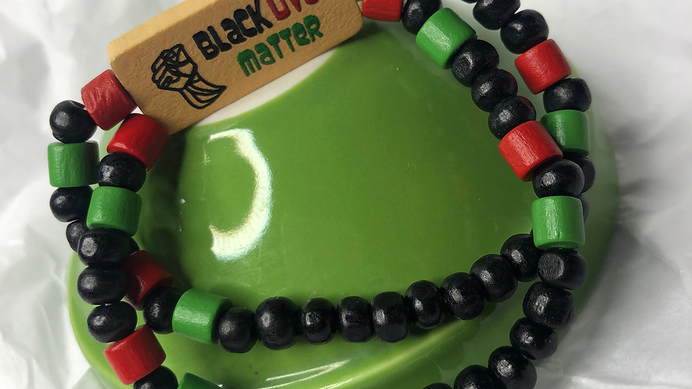 BLM wooden beaded bracelet