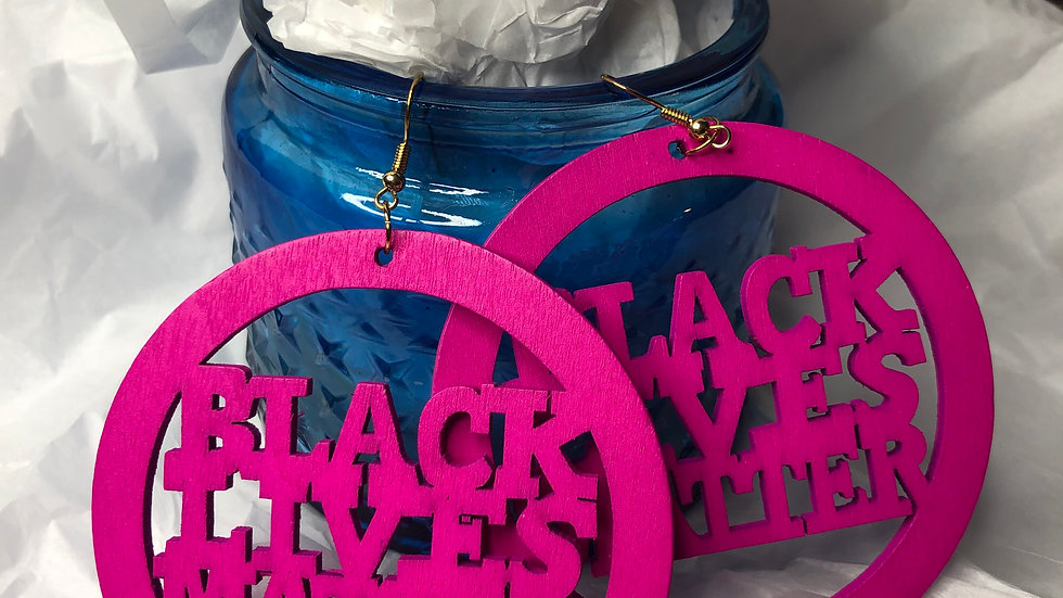 Hot Pink BLM earrings- Large