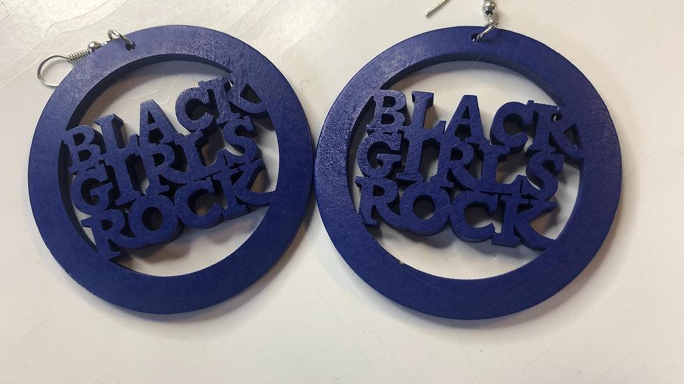 Deep Blue Black Girls Rock Earrings