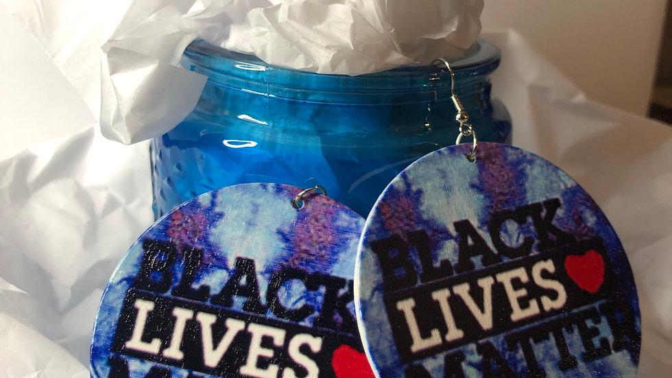 Tye Dye Splatter BLM earrings- dark blue