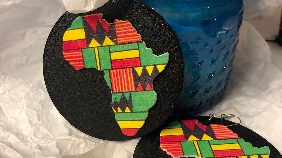 Africa wooden earrings- large
