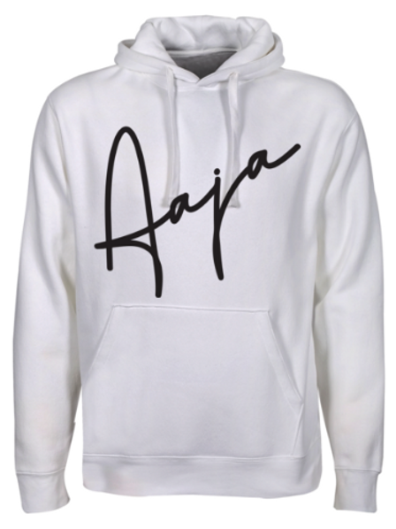 Aaja White Hooded Sweatshirt (aaja sig front)