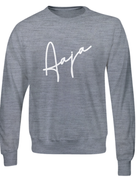 Aaja Heather Grey Jumper (large white aaja sig front)