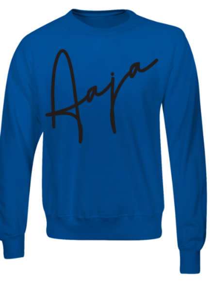 Aaja Blue Jumper (large black aaja sig front)